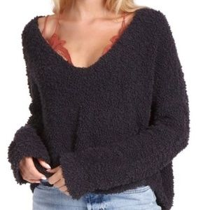 Free People popcorn slouchy black v-neck sweater